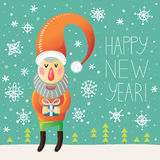 Carte de voeux de bonne année avec Santa Claus et des flocons de neige Photos libres de droits