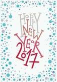 Carte de voeux de bonne année, copie, décoration d'hiver, recouvrement de photo, invitation, conception d'autocollant Lettrage ti Photographie stock libre de droits