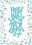 Carte de voeux de bonne année, copie, décoration d'hiver, recouvrement de photo, invitation, conception d'autocollant Lettrage ti Image libre de droits