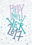 Carte de voeux de bonne année, copie, décoration d'hiver, recouvrement de photo, invitation, conception d'autocollant Lettrage ti Photo libre de droits