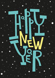 Carte de voeux de bonne année, copie, décoration d'hiver, recouvrement de photo, invitation, conception d'autocollant Lettrage ti Photos libres de droits
