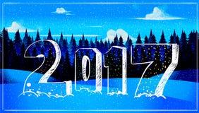 Carte de voeux 2017 de bonne année dans l'horaire d'hiver Concept de vacances Images libres de droits