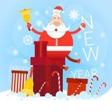 Carte de voeux de bonne année de vacances de Noël de Santa Claus With Big Present Box Photos libres de droits