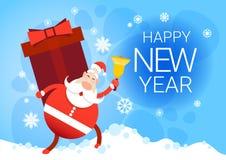 Carte de voeux de bonne année de vacances de Noël de Santa Claus With Big Present Box Images stock