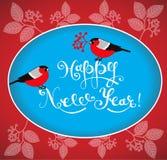 Carte de voeux de bonne année avec les bouvreuils et le lettrage tiré par la main Image stock