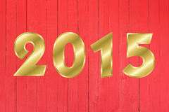 Carte de voeux de 2015 bonnes années Fond en bois Images stock