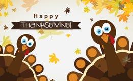 Carte de voeux de calibre avec une dinde heureuse de thanksgiving, vecteur Images stock