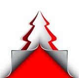 Carte de voeux de conception d'arbre de papier de Joyeux Noël Images stock