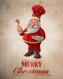 Carte de voeux de cuisinier de pâtisserie de Santa Claus Photos libres de droits