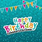 Carte de voeux de félicitations de joyeux anniversaire Image libre de droits