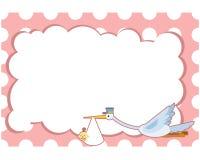 Carte de voeux de fête de naissance Crane Pink Images libres de droits