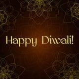 Carte de voeux de festival de Diwali avec la texture et le mandala de scintillement d'or Image stock