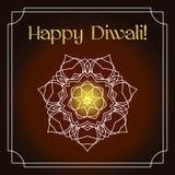 Carte de voeux de festival de Diwali avec la texture et le mandala de scintillement d'or Photos stock