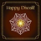 Carte de voeux de festival de Diwali avec la texture et le mandala de scintillement d'or Photographie stock