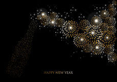 Carte de voeux 2014 de feux d'artifice de champagne de bonne année Photo libre de droits