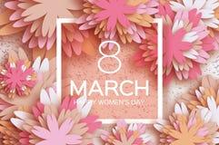 Carte de voeux de fleur de papier Jour heureux du ` s de femmes Enfante des vacances Photo stock