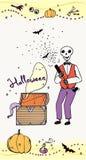 Carte de voeux de Halloween avec le squelette Image stock