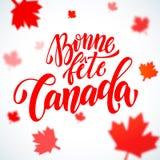 Carte de voeux de jour de Canada de fête de Bonne en français Photographie stock