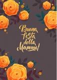 Carte de voeux de jour de la mère s Confettis et Rose Floral Background Texte italien Photo libre de droits
