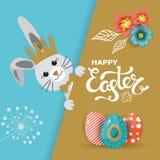 Carte de voeux de jour de Pâques, affiche, illustration de vecteur Photo stock