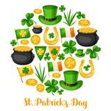Carte de voeux de jour de Patricks de saint Marquez l'Irlande, pot des pièces d'or, des oxalidex petite oseille, de chapeau vert  Photo stock