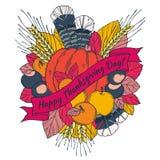 Carte de voeux de jour de thanksgiving avec des transitoires illustration libre de droits