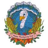 Carte de voeux de jour de thanksgiving avec la dinde illustration de vecteur