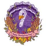 Carte de voeux de jour de thanksgiving avec la dinde illustration libre de droits