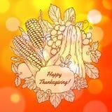 Carte de voeux de jour de thanksgiving avec tiré par la main illustration stock