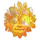 Carte de voeux de jour de thanksgiving avec tiré par la main illustration de vecteur