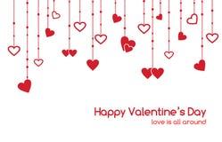 Carte de voeux de jour de valentines avec des guirlandes de coeur Image stock