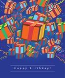 Carte de voeux de joyeux anniversaire avec des cadeaux Image stock