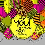 Carte de voeux de joyeux anniversaire Ballons modelés avec des étoiles Image libre de droits