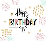 Carte de voeux de joyeux anniversaire et calibre d'invitation de partie Illustration de vecteur Photographie stock libre de droits