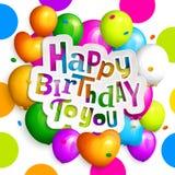 Carte de voeux de joyeux anniversaire Faites la fête les ballons colorés, les confettis et le lettrage élégant sur le fond pointi Photo libre de droits