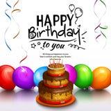 Carte de voeux de joyeux anniversaire Faites la fête les ballons multicolores, le gâteau, les flammes et le lettrage stilish Vect Images stock