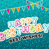Carte de voeux de joyeux anniversaire meilleurs voeux Image libre de droits