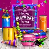 Carte de voeux de joyeux anniversaire Pile des boîte-cadeau enveloppés colorés Un bon nombre de présents Chapeaux de partie, cadr Photo libre de droits