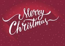 Carte de voeux de Joyeux Noël avec la typographie handlettering de vintage sur le fond rouge Photo libre de droits