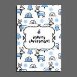 Carte de voeux de Joyeux Noël avec le renne mignon de bande dessinée Images libres de droits