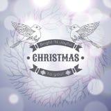 Carte de voeux de Joyeux Noël de vintage avec linéaire illustration stock