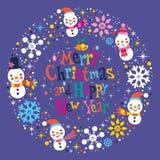 Carte de voeux de Joyeux Noël et d'an neuf heureux Photo libre de droits