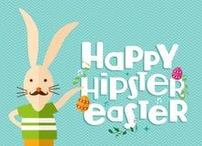 Carte de voeux de lapin de Pâques de hippie Images libres de droits