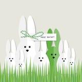 Carte de voeux de lapins de Pâques Photos libres de droits