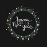 Carte de voeux de lettrage de main de bonne année Photographie stock