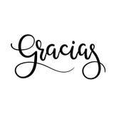 Carte de voeux de lettrage de main de Gracias Merci dans l'Espagnol Calligraphie moderne Photographie stock