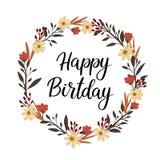 Carte de voeux de lettrage de main de joyeux anniversaire calligraphie de vecteur Guirlande florale Images stock