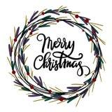 Carte de voeux de lettrage de main de Joyeux Noël Image stock