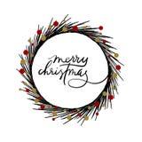 Carte de voeux de lettrage de main de Joyeux Noël Images stock