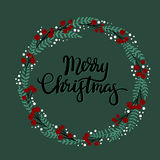 Carte de voeux de lettrage de main de Joyeux Noël Photo stock
